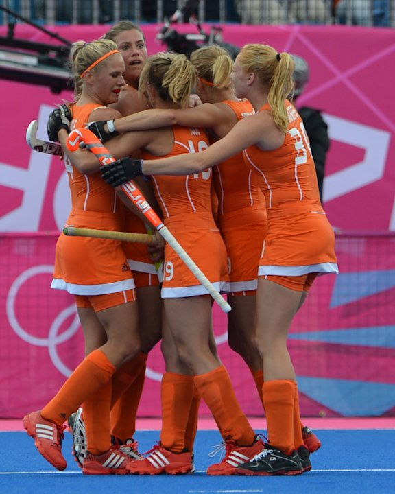 Netherlands players celebrate after scor