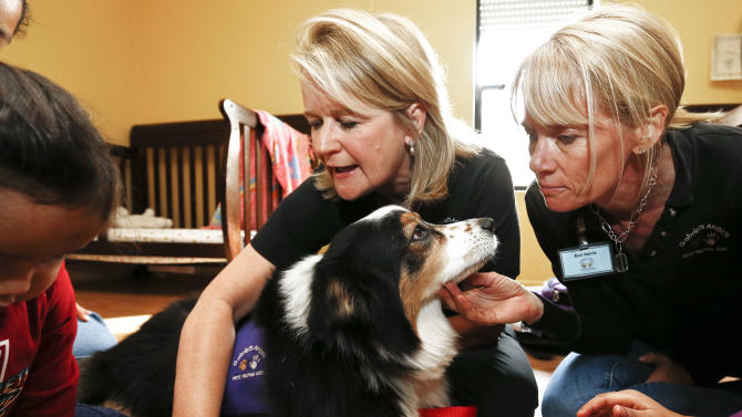 In this Wednesday, Jan. 23, 2013 photo, therapy dog Callie from Gabriel's Angels entertains the children at the Child Crisis Center with the help of her handler Jeanette Harris, left, and her Helping Hand, Ann Harris, right, in Mesa, Ariz. Being a therapy dog, or cat or horse or whatever, takes a special kind of animal, one with just the right temperament and personality. It also takes training, not just for the animal, but for the handler.  (AP Photo/Ross D. Franklin)