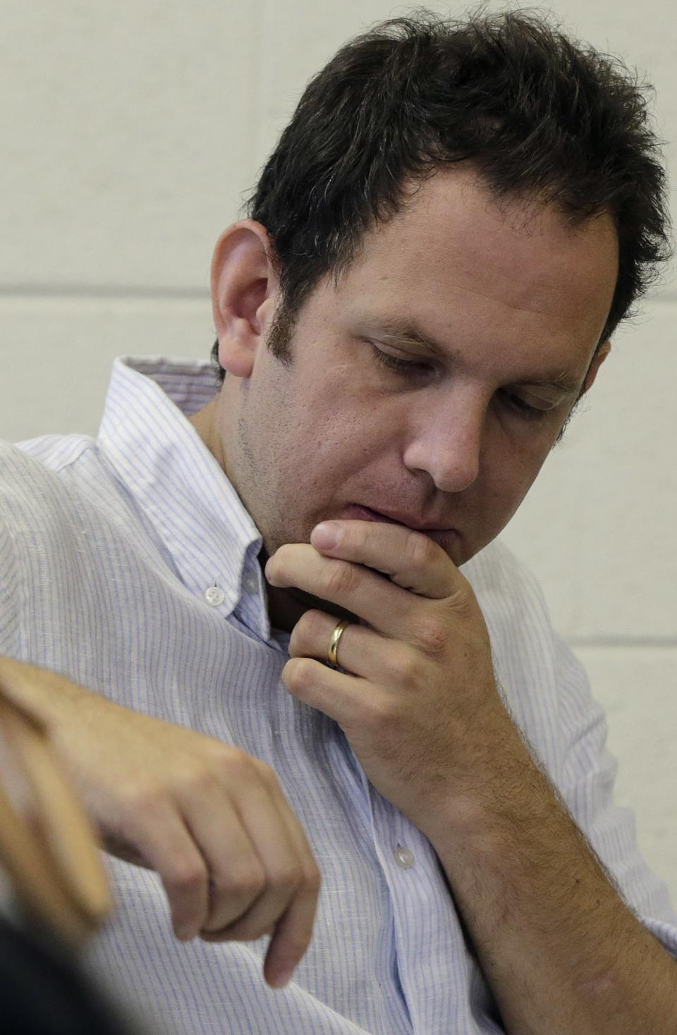 "Composer Yotam Haber attends a rehearsal for his civil rights symphony ""A More Convenient Season"" in Birmingham, Ala., Saturday, Sept. 7, 2013. (AP Photo/Dave Martin)"
