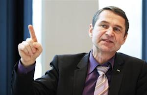 FIFA head of security Mutschke gestures during an interview with journalists at the Home of FIFA in Zurich