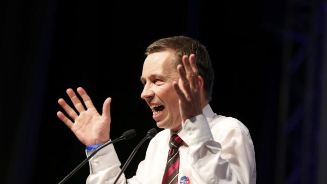 Lucke founder and co-chairman of the eurosceptic Alternative fuer Deutschland addresses the party congress in Essen