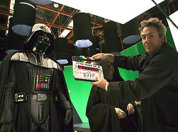 Hayden Christensen as Darth Vader, Ian McDiarmid as Palpatine and producer Rick McCallum on the set of 20th Century Fox's Star Wars: Episode III