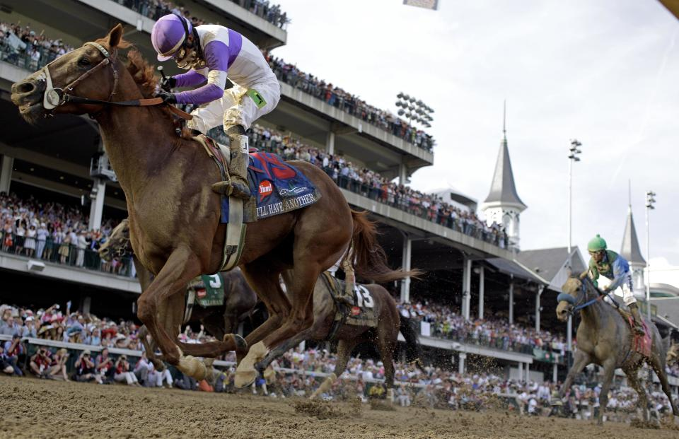 Jockey Mario Gutierrez rides I'll Have Another to victory in the 138th Kentucky Derby horse race at Churchill Downs Saturday, May 5, 2012, in Louisville, Ky. (AP Photo/David J. Phillip)