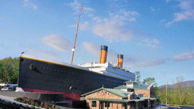 This undated image provided by Titanic Museum Attractions shows the exterior of a half-scale replica of the Titanic cruise ship in Pigeon Forge, Tenn. The attraction in Pigeon Forge and another in Branson, Mo., are marking the April 15, 2012 centennial of the Titanic sinking by sponsoring a Coast Guard cutter to take 1.5 million rose petals to the North Atlantic site where the ship went down. (AP Photo/Titanic Museum Attractions)