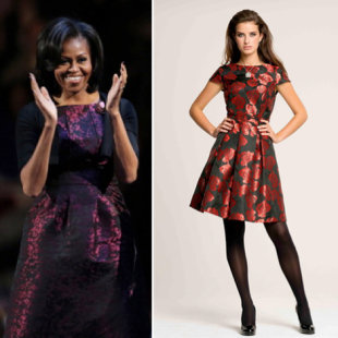 British retailer Asda has created their own version of the Michael Kors dress that first Lady Michelle Obama wore on election night (right). (Photos: Getty and Asda)