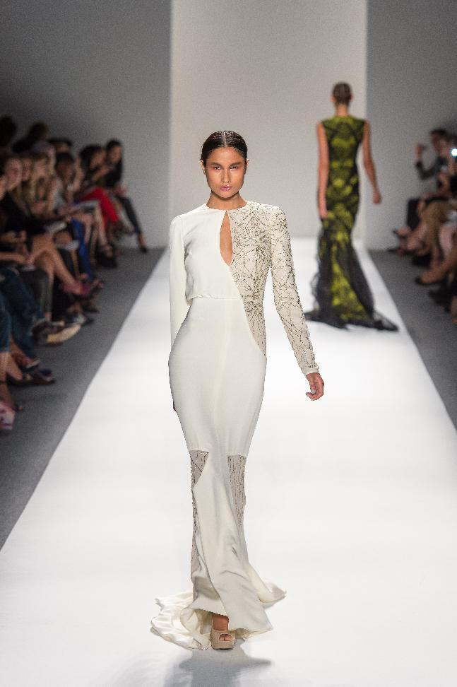 In this photo provided by Bibhu Mohapatra , the Bibhu Mohapatra Spring 2013 collection is modeled during Fashion Week in New York, Tuesday, Sept. 11, 2012. (AP Photo/Bibhu Mohapatra)