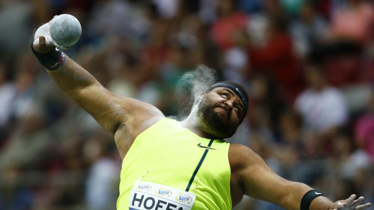 Hoffa of the U.S. competes in the men's shot put during the fifth Athletic Memorial in Warsaw