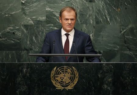 President of the European Council Donald Tusk of Poland addresses attendees during the 70th session of the United Nations General Assembly at the U.N. headquarters in New York