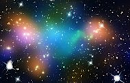 Undated composite image courtesy of NASA shows distribution of dark matter, galaxies, and hot gas in the core of merging galaxy cluster Abell 520, a combination of natural-color image of galaxies and &quot;false-colored&quot; maps showing starlight, hot gas, and dark matter. Credit: NASA, ESA, CFHT, CXO, M.J. Jee (University of California, Davis), and A. Mahdavi (San Francisco State University)