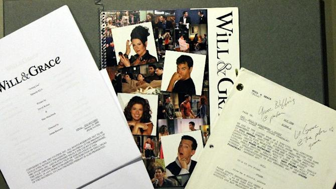 "This handout photo provided by the Smithsonian National Museum of American History shows production scripts and press materials from NBC's Will & Grace program, 2000-2006. Max Mutchnick and David Kohan, the creative power behind the hit situation comedy, intentionally presented LGBT characters who were not stereotyped, caricatured, or demeaned. The success of Will & Grace marked a turning point in media portrayals. The museum is acquiring several pieces of history from the gay, lesbian, bisexual and transgender community, including items from the TV show ""Will and Grace."" (AP Photo/Smithsonian National Museum of American History)"