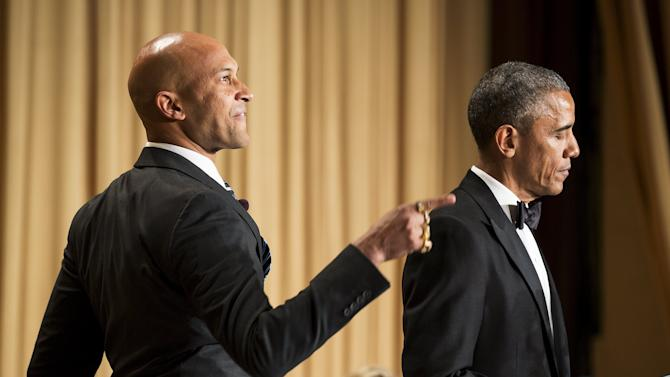 "U.S. President Barack Obama pokes fun at the media with comedian Keegan-Michael Key playing ""Luther, Obama's anger translator"" at the 2015 White House Correspondents' Association Dinner"