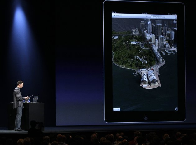 Scott Forstall, Apple's senior vice president of iOS Software, shows an aerial view of Sidney, Australia while demonstrating a new map program for the new iOS 6 software, during the Apple Developers Conference in San Francisco, Monday, June 11, 2012.
