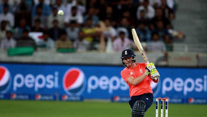England batsman Sam Billings plays a shot against Pakistan during the Pakistan and England T20 International match at the Dubai International Stadium in Dubai, United Arab Emirates, Thursday, Nov. 26, 2015. (AP Photo)