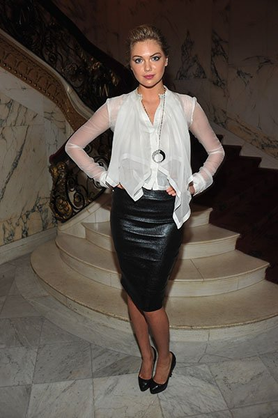 Kate Upton in black leather Thierry Mugler skirt