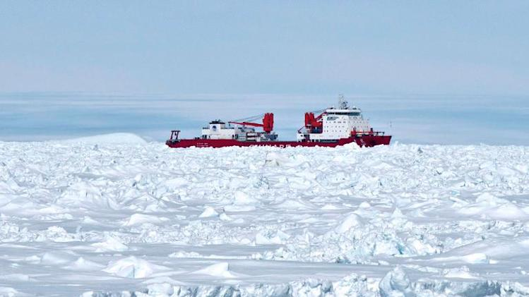The Chinese vessel Xue Long, pictured trapped in the ice in Antarctica on January 2, 2014