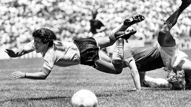 Argentina's Diego Maradona (L) flies over Germany's goalie during the World Cup final in Azteca Stadium in Mexico City in this June 29, 1986 (Reuters)