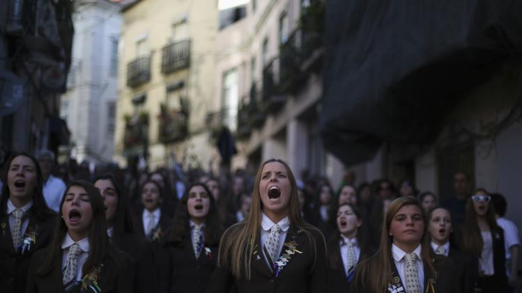 Students of Odivelas military high school shout slogans during a protest organized by Portuguese militaries in Lisbon