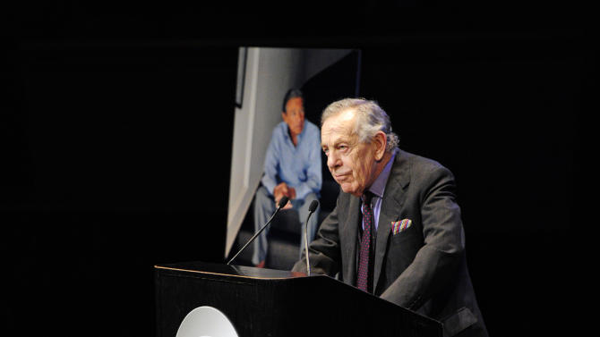 """In this image released by CBS, Morley Safer, Co-Editor, """"60 Minutes"""" speaks at the CBS News memorial service for Mike Wallace at Jazz at Lincoln Center in New York on Tuesday, May 1, 2012.   Wallace died at age 93 on April 7. (AP Photo/CBS, John Paul Filo)"""