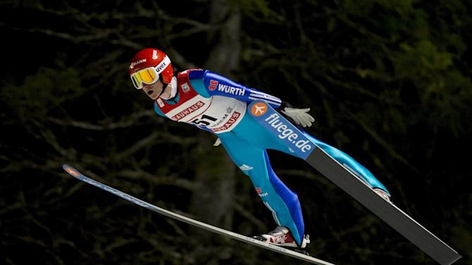 Richard Freitag of Germany flies through the air during training and qualification for the FIS Ski Jumping World Cup competition in Trondheim, Norway