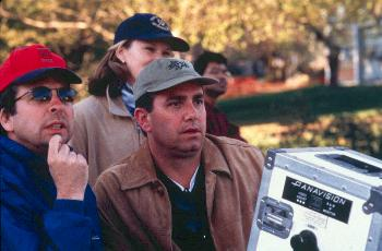 Co-writer Peter Farrelly and director Michael Corrente on location for Outside Providence