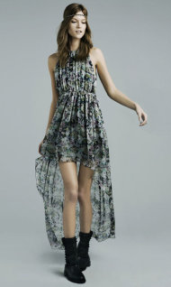 Zara Printed Dress with Asymmetrical Hem