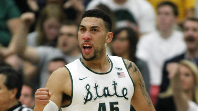 Michigan State guard Denzel Valentine (45) reacts after making a basket against Boston College during the first half of an NCAA college basketball game in the quarterfinals of the Wooden Legacy tournament, in Fullerton, Calif., Thursday, Nov. 26, 2015. (AP Photo/Alex Gallardo)