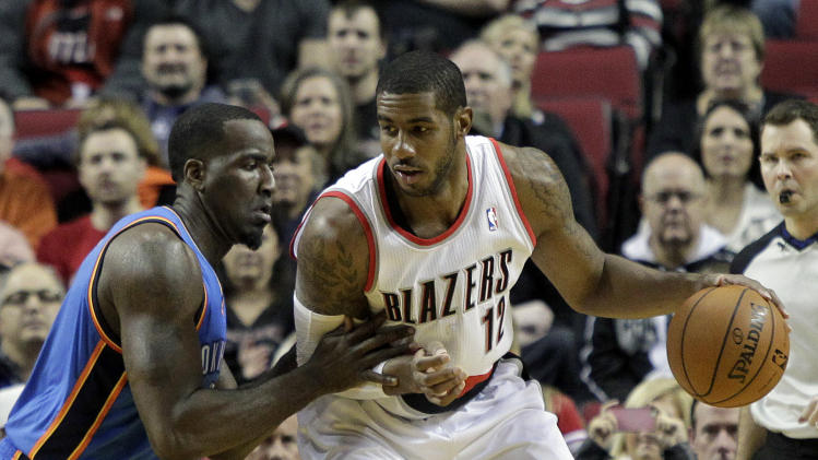 Portland Trail Blazers forward LaMarcus Aldridge, right, backs in on Oklahoma City Thunder center Kendrick Perkins during the first half of an NBA basketball game in Portland, Ore., Wednesday, Dec. 4, 2013. (AP Photo/Don Ryan)