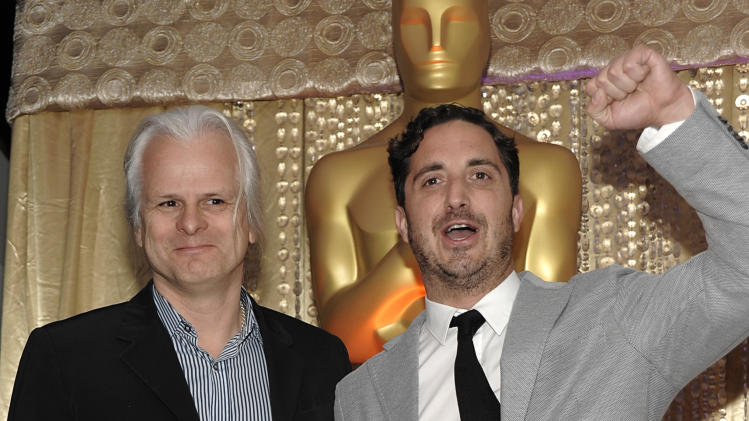 """Cinematographer Claudio Miranda, left, and director Pablo Larraín pose together during the The Oscars Foreign Language Film Award Directors Reception at The Academy of Motion Picture Arts and Sciences in Beverly Hills, Calif. on Friday, Feb. 22, 2013. Larraín's feature film """"No"""" is nominated for Best Foreign Language Film. (Photo by Dan Steinberg/Invision/AP)"""