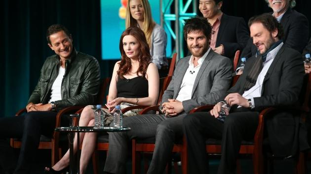 Sasha Roiz, Bitsie Tulloch, David Giuntoli, and Silas Weir Mitchel speak onstage at the 'Grimm' panel session during the NBCUniversal portion of the 2013 Winter TCA Tour- Day 3 at the Langham Hotel on January 6, 2013 in Pasadena, California -- Getty Images