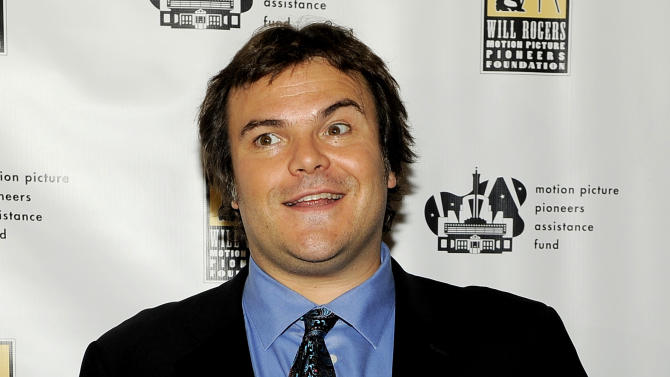 "FILE - In this April 25, 2012 file photo, actor Jack Black poses at the annual ""Pioneer of the Year"" award ceremony for DreamWorks Animation CEO Jeffrey Katzenberg at CinemaCon 2012, the official convention of the National Association of Theater Owners in Las Vegas. Black attended a fundraiser for President Barack Obama on Thursday, May 10, 2012, hosted by actor-activist George Clooney at his Studio City, Calif., home. (AP Photo/Chris Pizzello)"