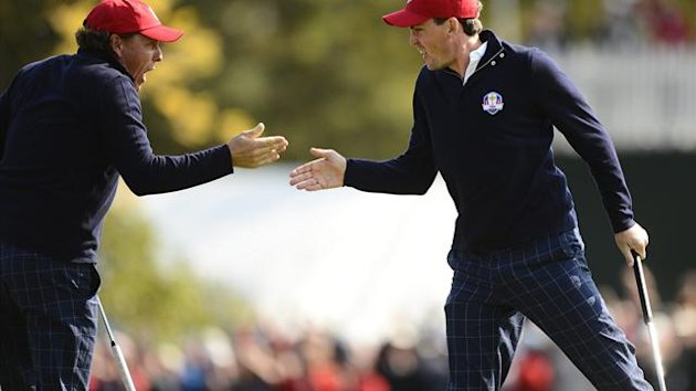 Ryder Cup: Team USA's Keegan Bradley (R) and Phil Mickelson (L)