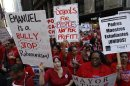Chicago teachers take over the streets outside the headquarters of Chicago Public Schools in Chicago