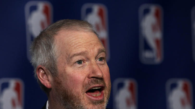 Seattle Mayor Michael McGinn is interviewed after his meeting with the NBA regarding the possible relocation of the Sacramento Kings basketball team to Seattle, in New York, Wednesday, April 3, 2013. Hedge fund manager Chris Hansen and Microsoft Chief Executive Steve Ballmer have agreed to buy a majority stake in the Kings from the Maloof family for $341 million, but the deal needs league approval. (AP Photo/Richard Drew)