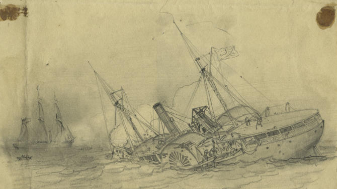This image provided by the National Oceanic and Atmospheric Administration shows a view of the USS Hatteras as it fought and sank in 1863, depicted in a drawing by Civil War artist Francis H. Schell, above a 2012 high-resolution 3-D sonar image from the National Oceanic and Atmospheric Administration. A team of archaeologists and technicians spent two days in September 2012 mapping the wreckage of the USS Hatteras, the only U.S. Navy ship sunk in the Gulf of Mexico during Civil War combat. (AP Photo/NOAA, Northwest Hydro Inc., James Glaeser)