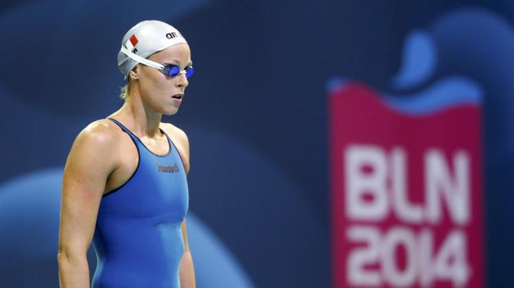 Pellegrini of Italy prepares to compete in the women's 200m freestyle semi-final at the European Swimming Championships in Berlin