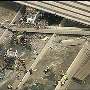 Raw: Tractor-trailer Plows Into Bridge, 1 Dead
