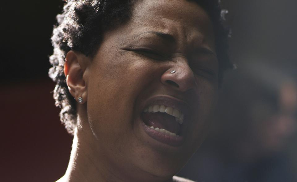 "This undated publicity photo released by Radius-TWC shows Lisa Fischer in a scene from the film, ""Twenty Feet From Stardom."" (AP Photo/Radius-TWC)"