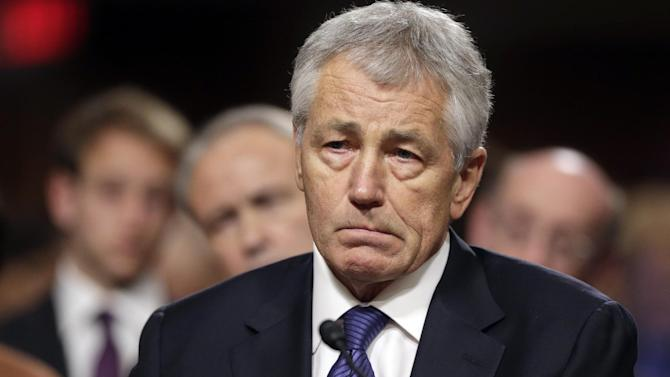 Republican Chuck Hagel, President Obama's choice for defense secretary, testifies before the Senate Armed Services Committee during his confirmation hearing, on Capitol Hill in Washington, Thursday, Jan. 31, 2013. (AP Photo/J. Scott Applewhite)