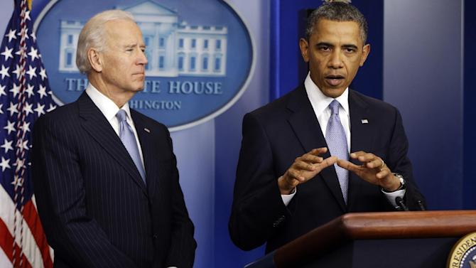 FILE - In this Jan. 1, 2013, file photo, President Barack Obama, right, and Vice President Joe Biden make a statement regarding the passage of the fiscal cliff bill in the Brady Press Briefing Room at the White House in Washington. After Republicans and Democrats alike reluctantly shunned their core supporters and reached a bipartisan compromise to avert a fiscal crisis, there's a reasonable question to ask: Did American lawmakers actually _ for a moment, at least _ listen to the regular Joes and Janes pleading for a gridlocked Washington to get something, anything, done? (AP Photo/Charles Dharapak, File)