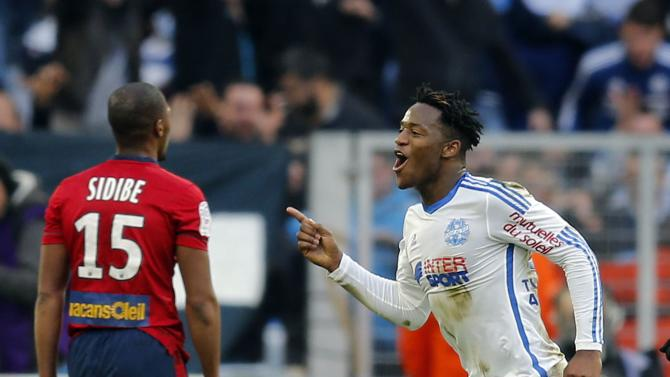 Olympique Marseille's Batshuayi celebrates after scoring against Lille during their French Ligue 1 soccer match at the Velodrome stadium in Marseille