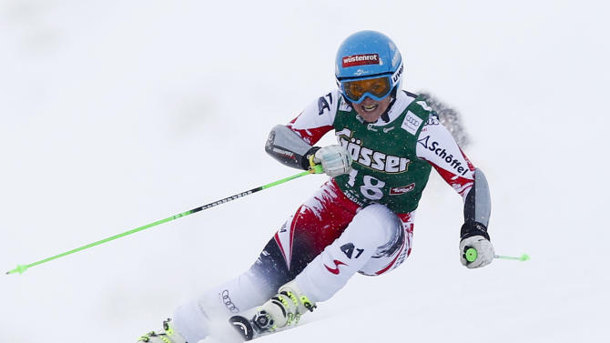 Goergl from Austria clears a gate during the first run of the World Cup Women's Giant Slalom race in Kuehtai ski resort