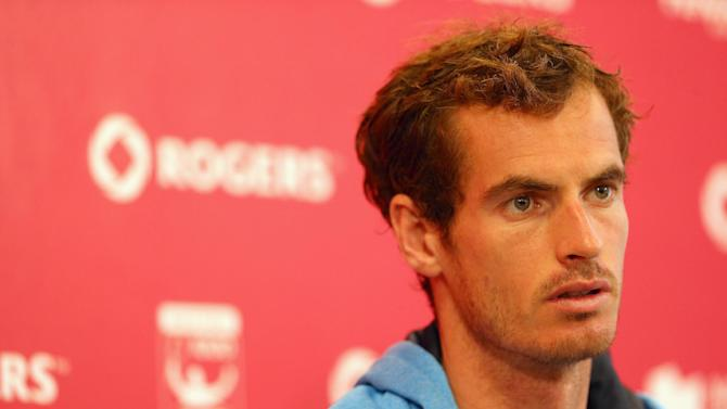 Andy Murray speaks to the media before the start of the ATP Toronto Masters at York University on August 3, 2014 in Toronto, Canada