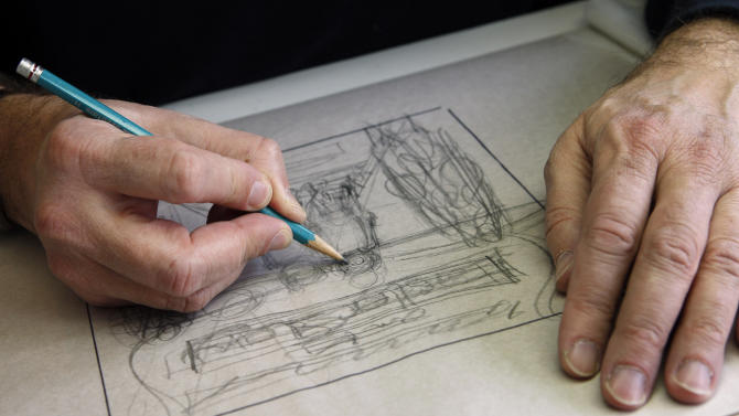 In this Jan. 25, 2011 photo, Mike Berenstain works on art for a Berenstain Bears book in the studio that he and his mother, Janice, use in Solebury, Pa. It used to be husband and wife Jan and Stan Berenstain creating the books, but their son Mike took over when his father died, continuing the tradition that started with the first book in 1962. (AP Photo/Mel Evans)
