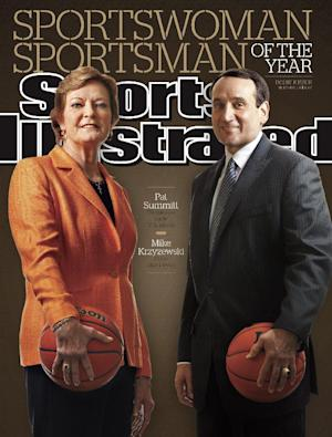 In this image provided by Sports Illustrated, NCAA college basketball coaches Pat Summitt, of Tennessee, and Mike Krzyzewski, of Duke, are seen on the upcoming Dec. 12, 2011, cover of Sports Illustrated, which named them Sportswoman and Sportsman of the Year. (AP Photo/Sports Illustrated) NO SALES MANDATORY CREDIT FOR USE DEC. 5-13
