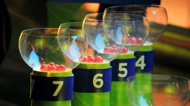 General view of the pots with the draw balls during the Preliminary Draw of the 2014 FIFA World Cup at Marina Da Gloria
