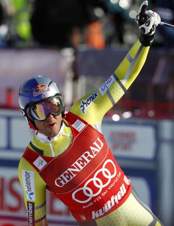 First placed Svindal of Norway reacts after completing the FIS Ski World Cup men's Super-G race in Kvitfjell