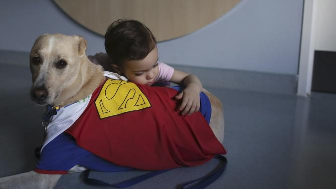 Patient Stadella hughs Joca, a therapeutically trained dog, during a therapy session in Sao Paulo