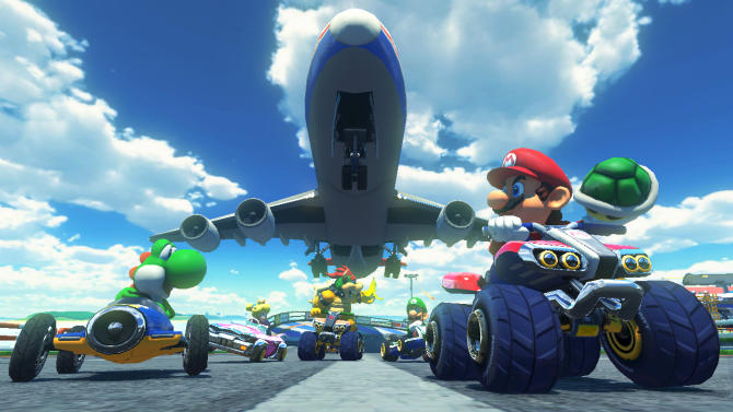 """This photo provided by Nintendo shows a scene from the video game, """"Mario Kart 8."""" (AP Photo/Nintendo)"""