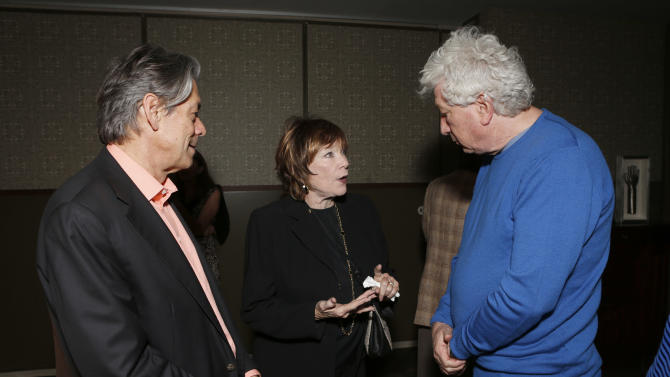 """Millennium Entertainment CEO Bill Lee, Shirley MacLaine and Nu Image Co-Chairman Avi Lerner attend a celebration for """"Bernie"""" by Millennium Entertainment on Tuesday Oct. 30, 2012, in Los Angeles.  (Photo by Todd Williamson/Invision for Millennium Entertainment/AP Images)"""