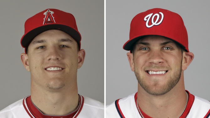 FILE - These are 2012 file photos showing Mike Trout of the Los Angeles Angels, left, and Bryce Harper of the Washington Nationals. Trout is favored to win AL Rookie of the Year and Harper To win NL Rookie of the Year, Monday, Nov. 12, 2012. (AP Photo/File)